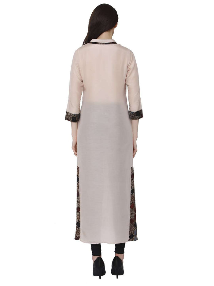 Back Side Kadurat Cream Muslin & Modal Kurti With Black Palazzo Pant
