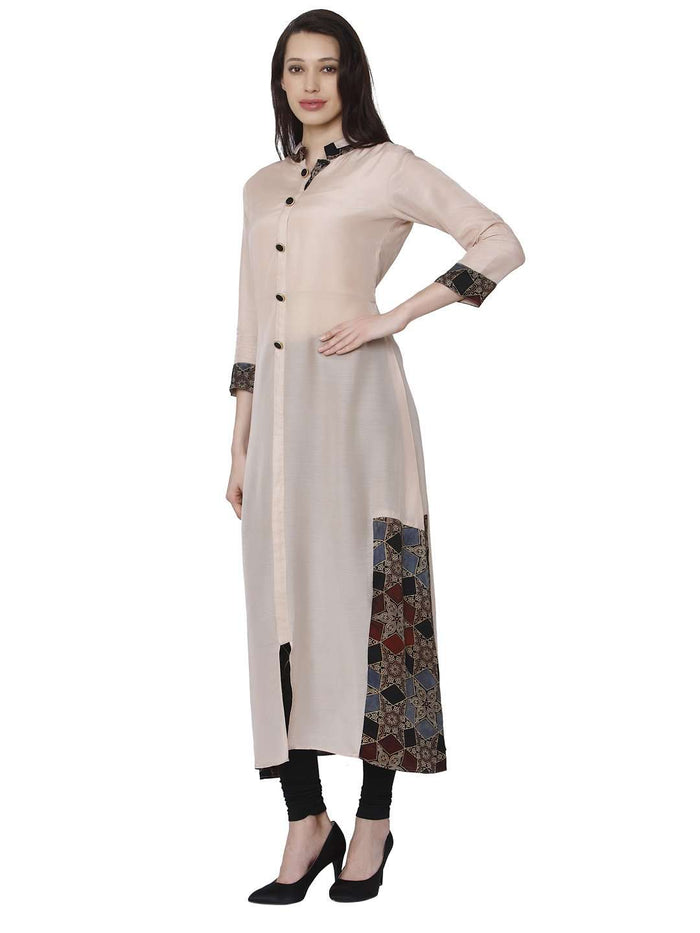 Left Side Kadurat Cream Muslin & Modal Kurti With Black Palazzo Pant