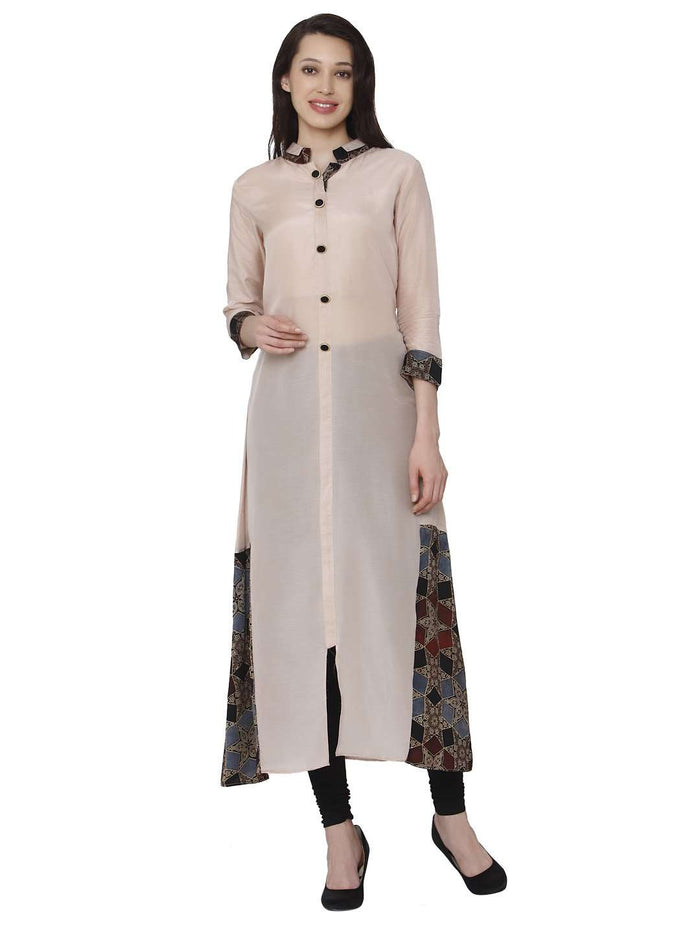 Front Side Kadurat Cream Muslin & Modal Kurti With Black Palazzo Pant