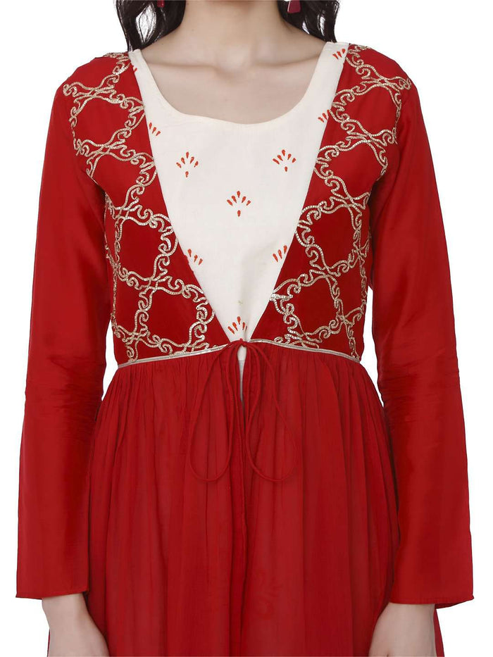 Keher Red White Cotton Muslin Dress With Jacket