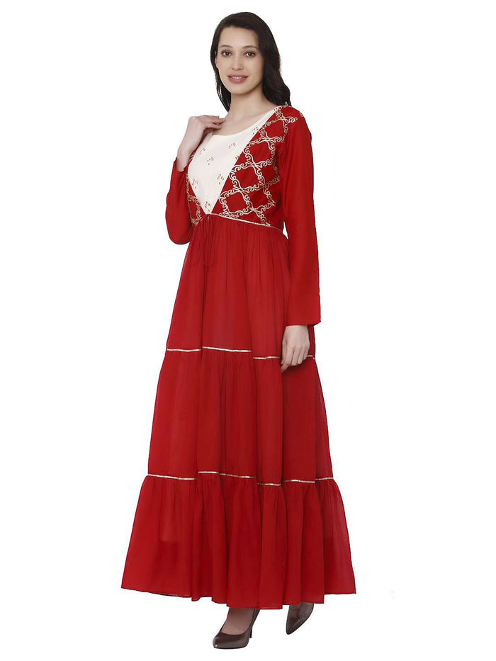 Right Side Keher Red White Cotton Muslin Dress With Jacket