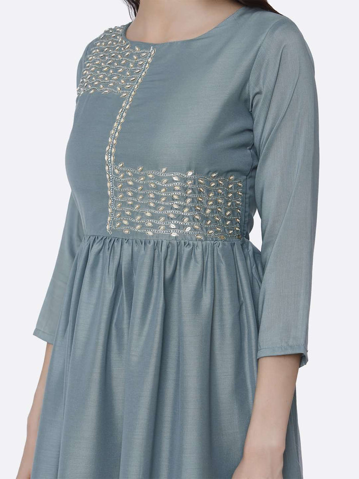 Left Side Light Blue Embroidered Viscose Plain Long Kurti