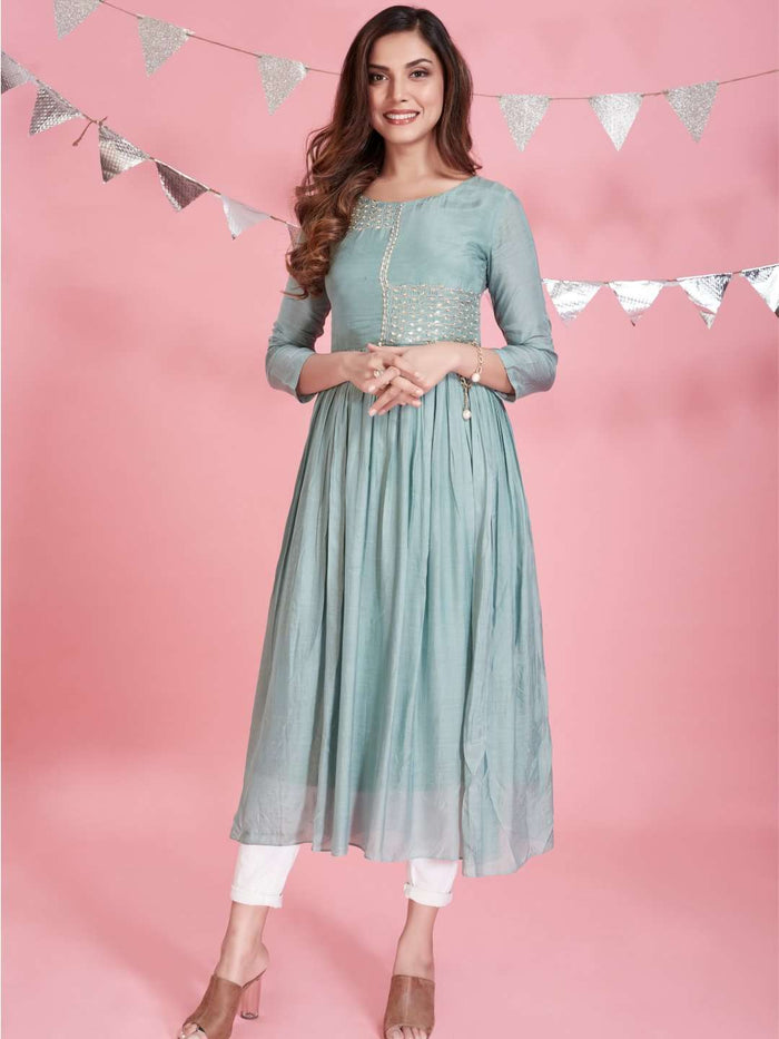 Full Font Side Light Blue Embroidered Viscose Plain Long Kurti With White Palazzo