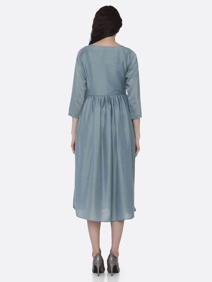 Back Side Embroidered Viscose Plain Long Kurti With Light Blue