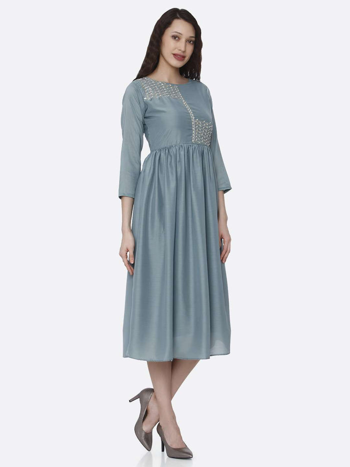 Right Side Embroidered Viscose Plain Long Kurti With Light Blue