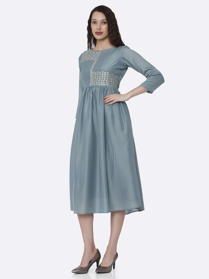 Left Side Embroidered Viscose Plain Long Kurti With Light Blue