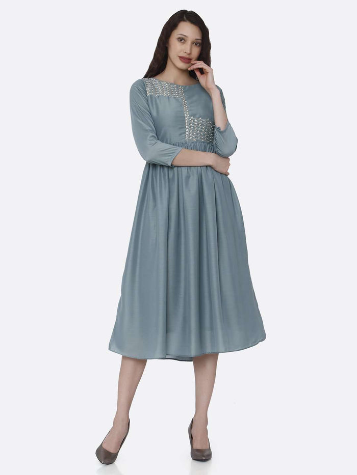 Front Side Embroidered Viscose Plain Long Kurti With Light Blue Color