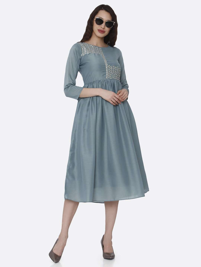 Full Front Side Casual Light Blue Embroidered Viscose Plain Long Kurti