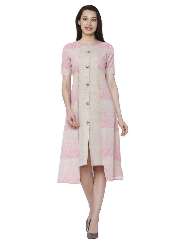 Front Side Solid Handloom Cotton Kurti With Light Pink Color