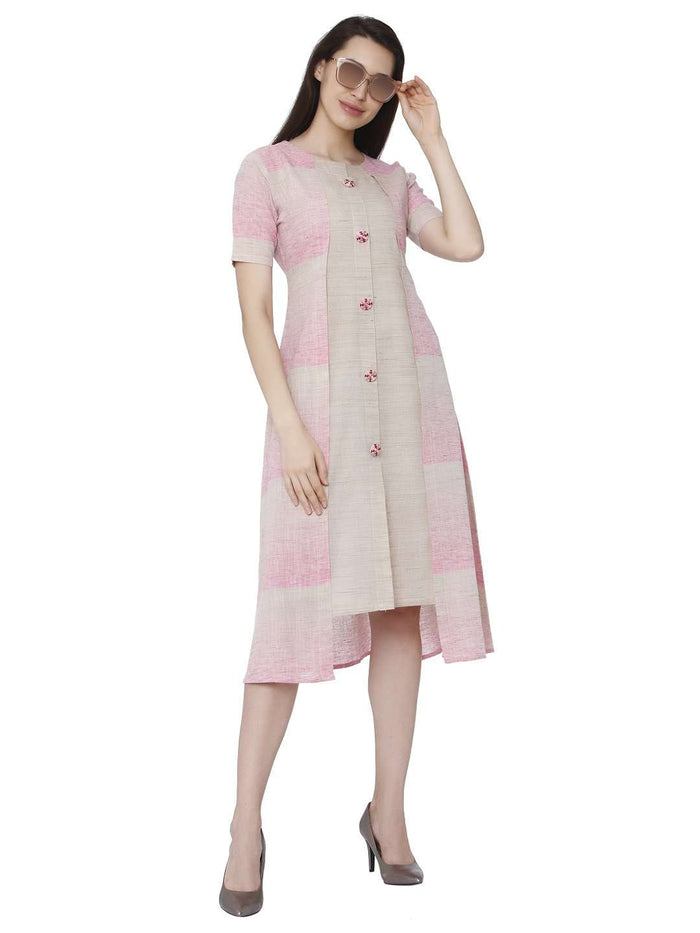 Casual Solid Handloom Cotton Kurti With Light Pink Color