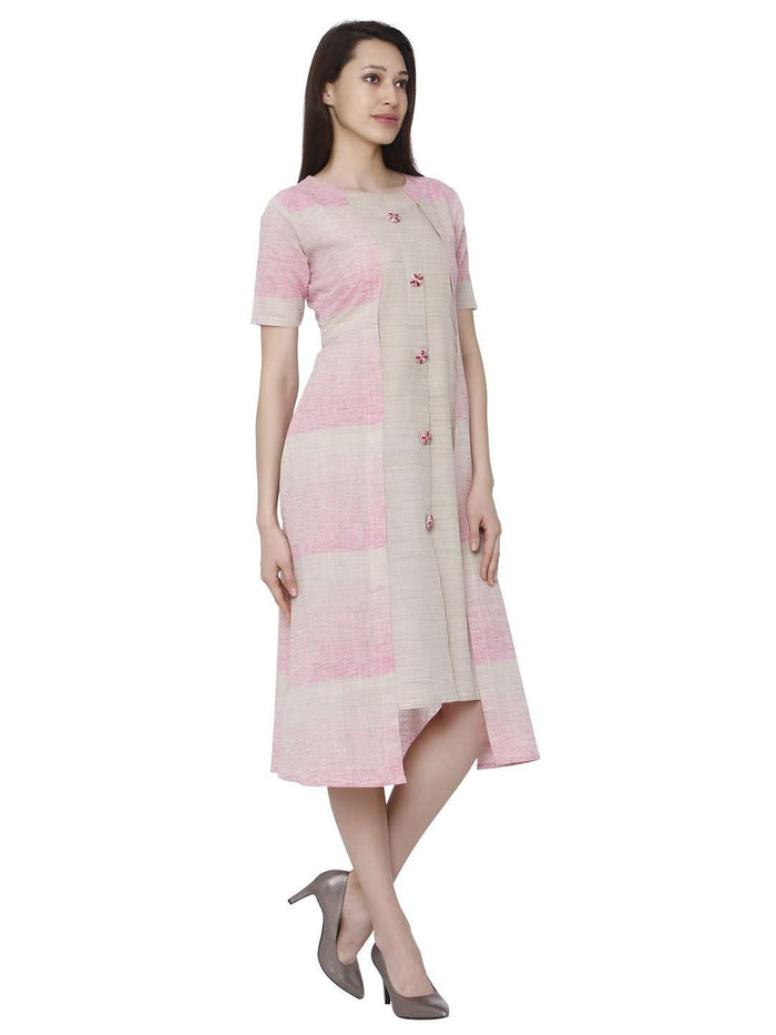 Right Side Solid Handloom Cotton Kurti With Light Pink Color
