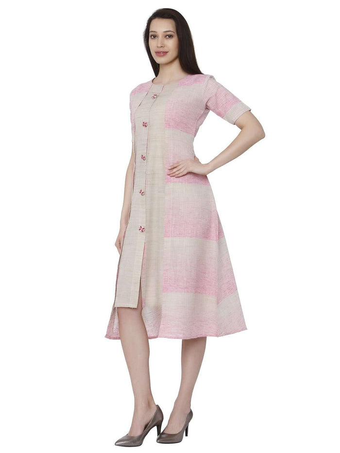 Left Side Solid Hnadloom Cotton Kurti With Light Pink Color