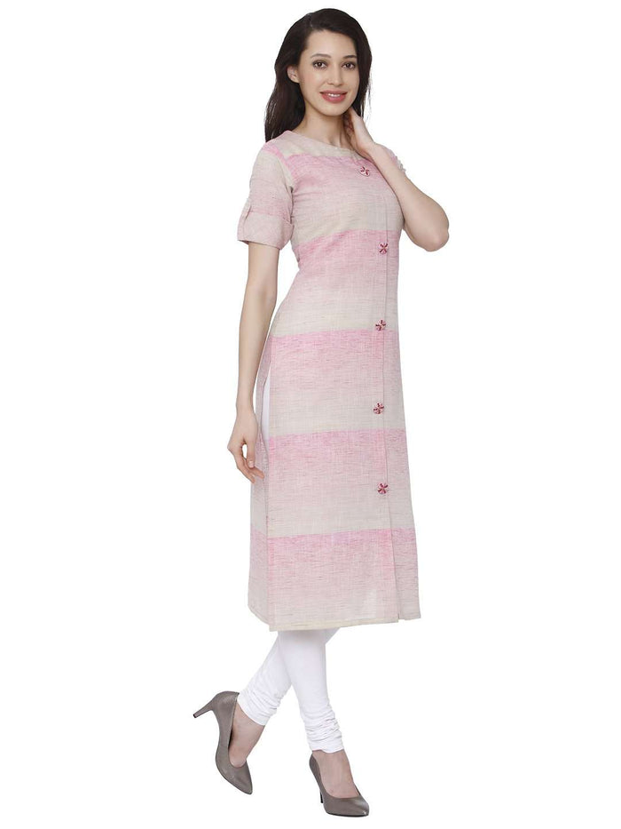 Right Side Light Pink Solid Handloom Kurti With White Palazzo Pant