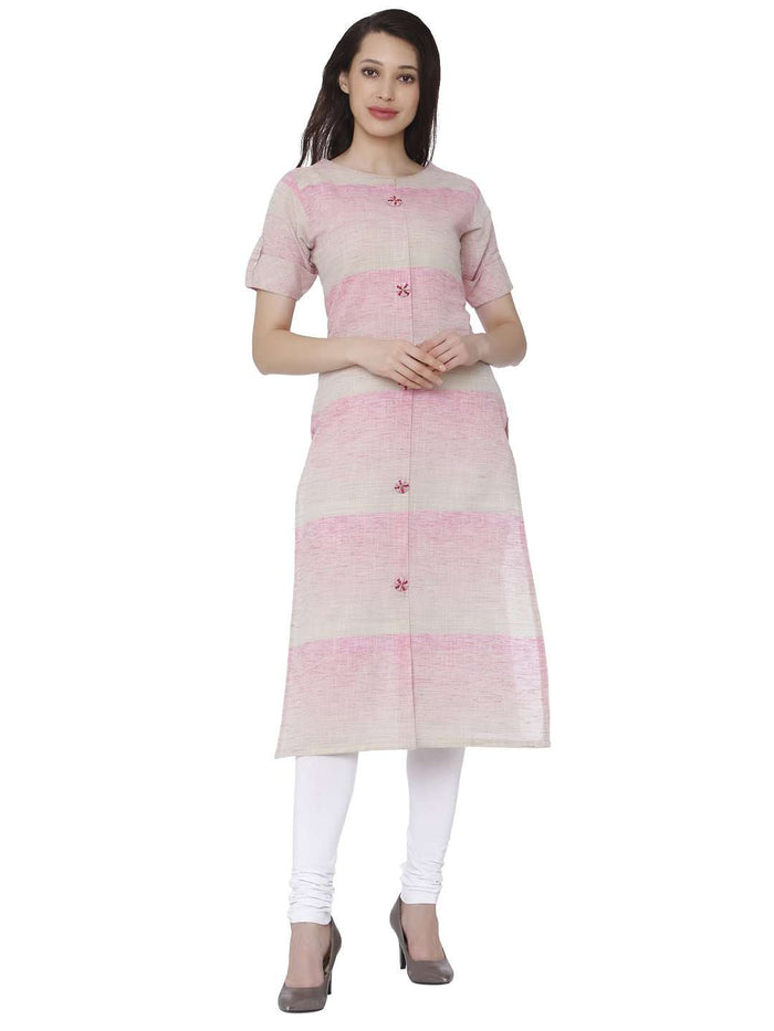 Front Side Light Pink Solid Handloom Kurti With White Palazzo Pant