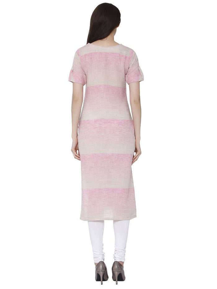 Back Side Light Pink Solid Handloom Kurti With White Palazzo Pant