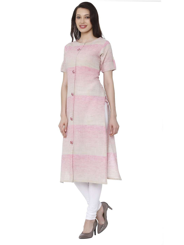 Left Side Light Pink Solid Handloom Kurti With White Palazzo Pant