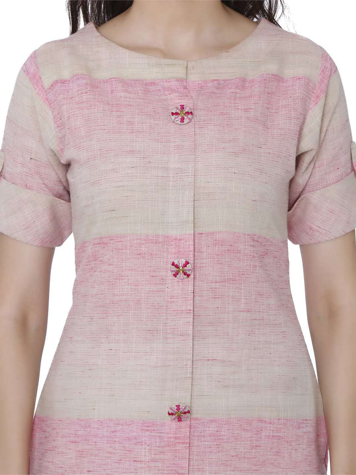 Front Side Solid Handloom Kurti With Light Pink Color