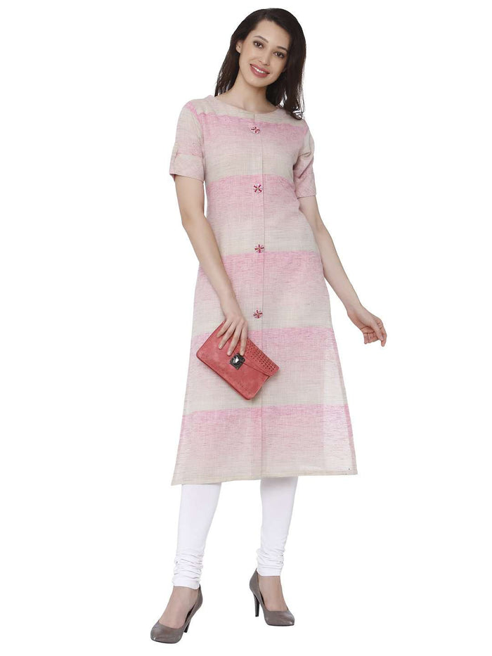 Front Side Casual Light Pink Solid Handloom Kurti With White Palazzo Pant