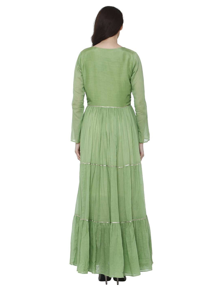 Back Side Moksh Green & White Cotton Muslin Dress with Jacket