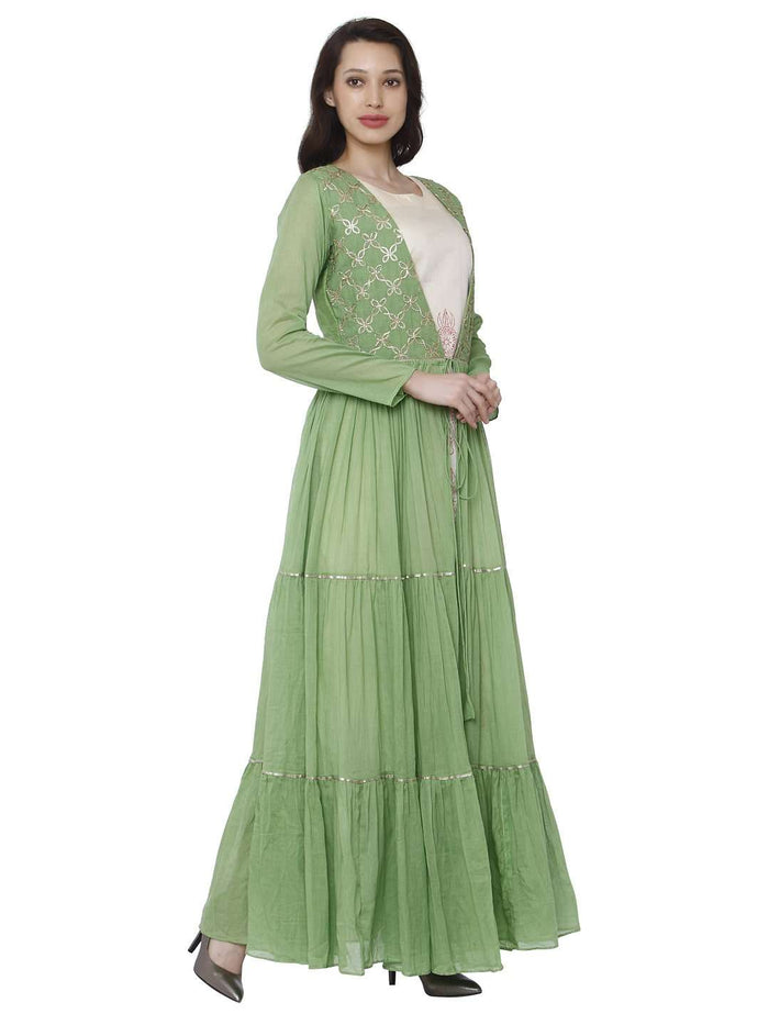 Right Side Moksh Green & White Cotton Muslin Dress with Jacket