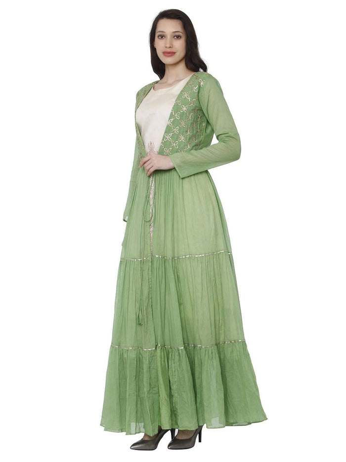 Left Side Moksh Green & White Cotton Muslin Dress with Jacket