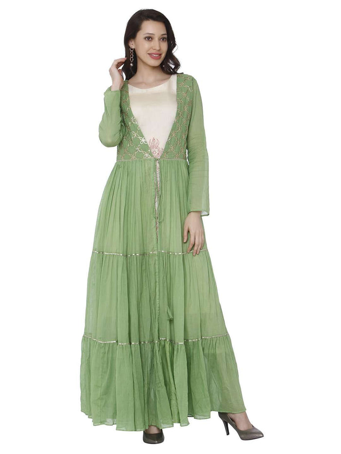 Casual Moksh Green & White Cotton Muslin Dress With Jacket