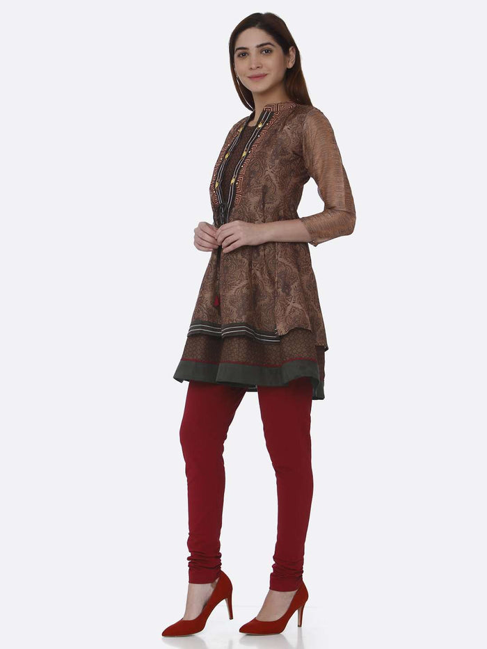 Left Side Multicoloured Chanderi Printed Tunic With Purple Palazzo