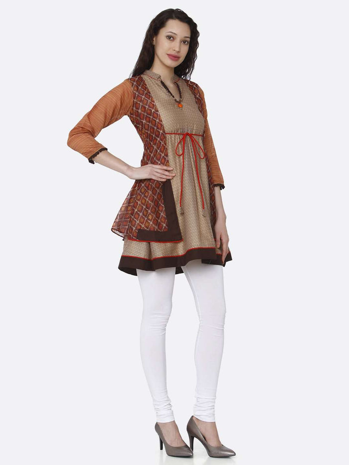 Right Side V neck Chanderi Printed Tunic With Multicoloured