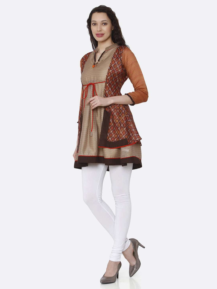 Left Side V neck Chanderi Printed Tunic With Multicoloured