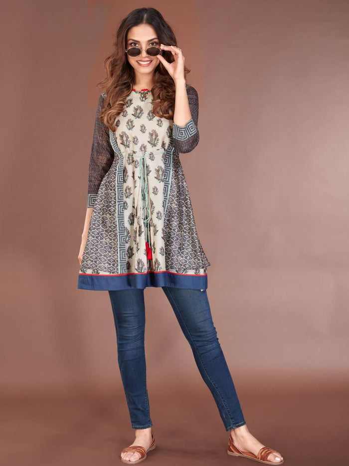 Front Side Multicoloured Chanderi Printed Tunic With Blue Denim Pant