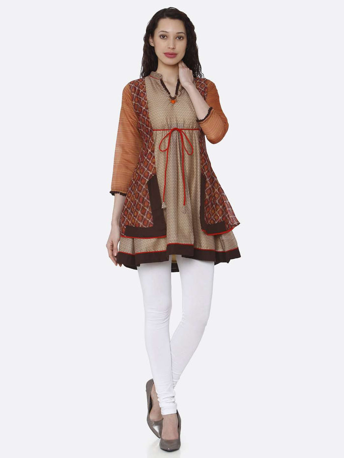 Full Front V Neck Multicoloured Chanderi Printed Tunic With White Palazzo