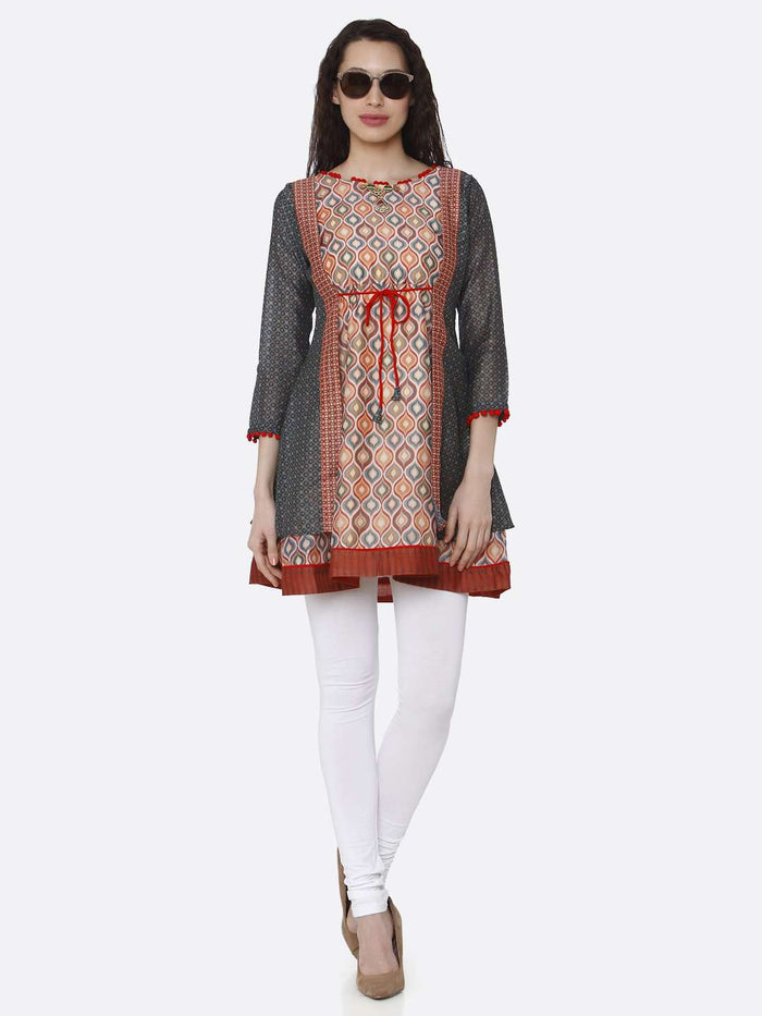 Full Front Side Casual Chanderi Printed Tunic With Multicoloured