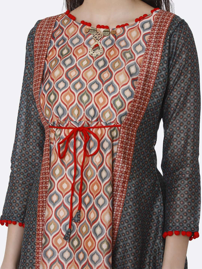 Front Side Multicoloured Chanderi Printed Tunic
