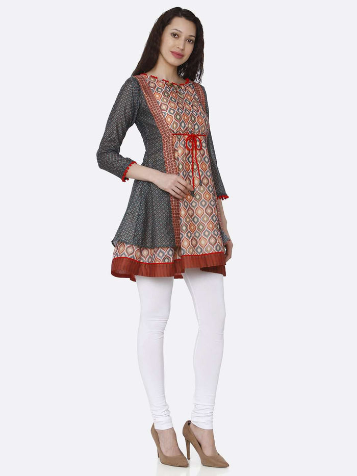 Right Side Chanderi Printed Tunic With Multicoloured