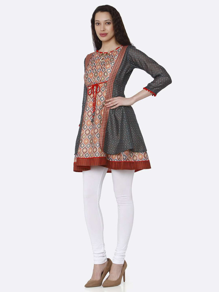 Left Side Chanderi Printed Tunic With Multicoloured