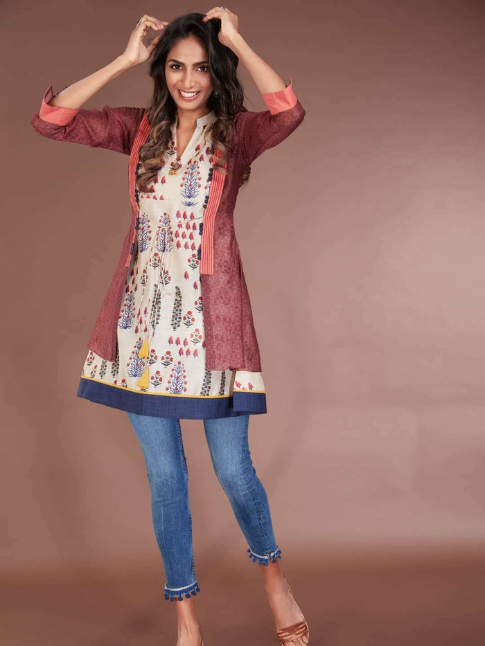 Front Side Multicoloured Chanderi Printed Tunic With Denim Pant