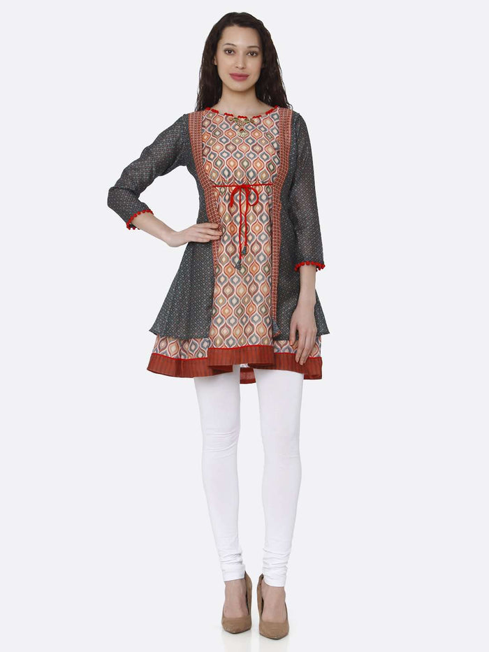 Full Front Side Chanderi Printed Tunic With Multicoloured