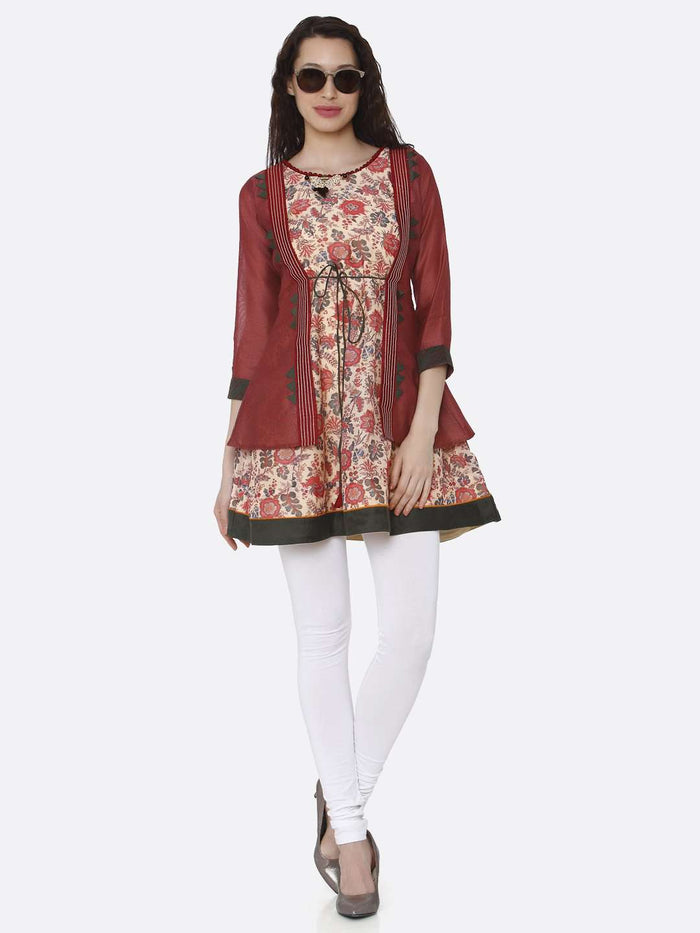 Front Side Casual Multicoloured Chanderi Printed Tunic