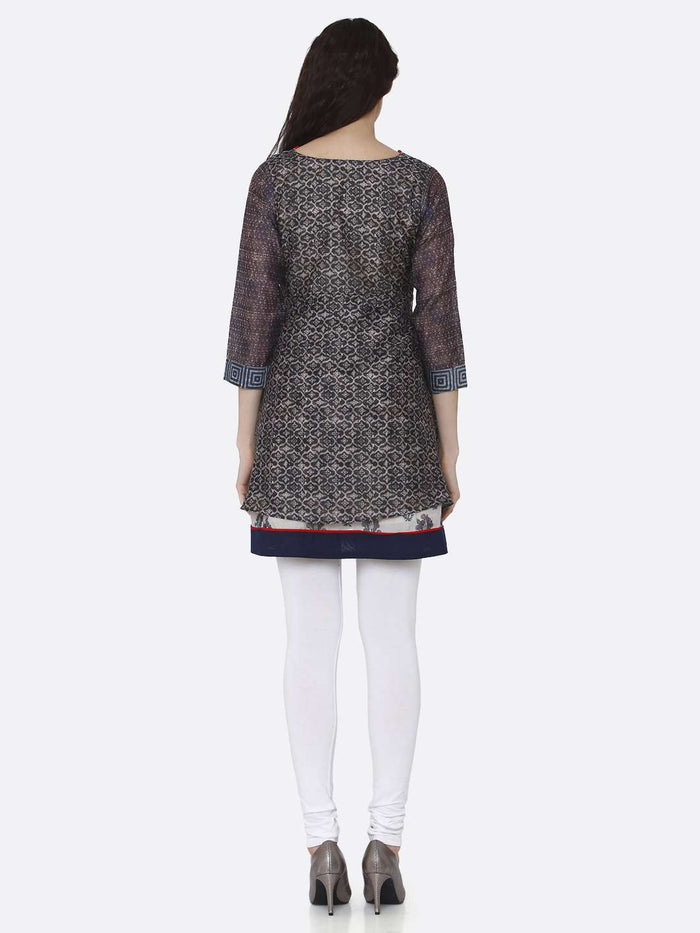 Back Side Chanderi Printed Tunic With Mucticoloured