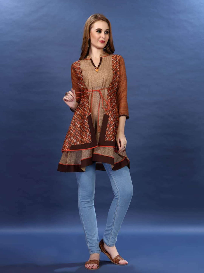 Full Front Multicoloured Chanderi Printed Tunic With Light Blue Denim Pant