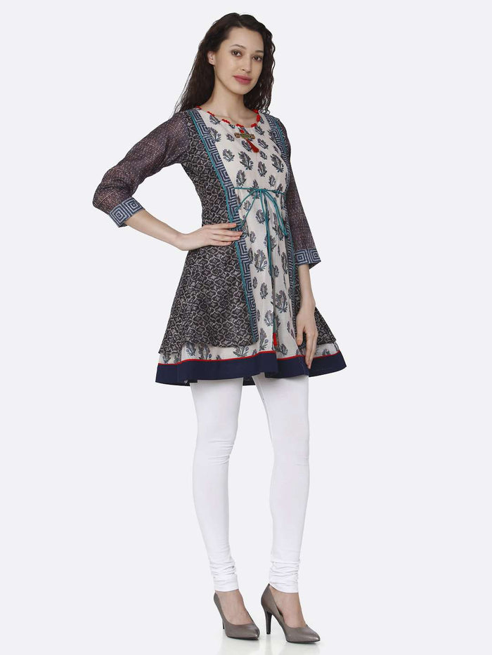 Right Side Casual Multicoloured Chanderi Printed Tunic