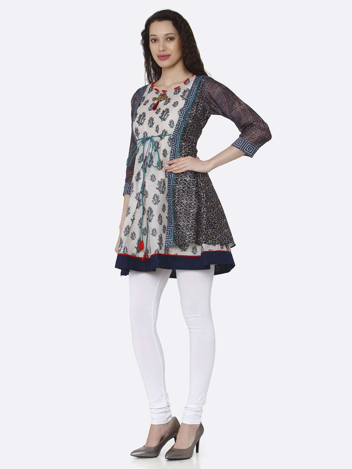 Left Side Casual Multicoloured Chanderi Printed Tunic With White Palazzo