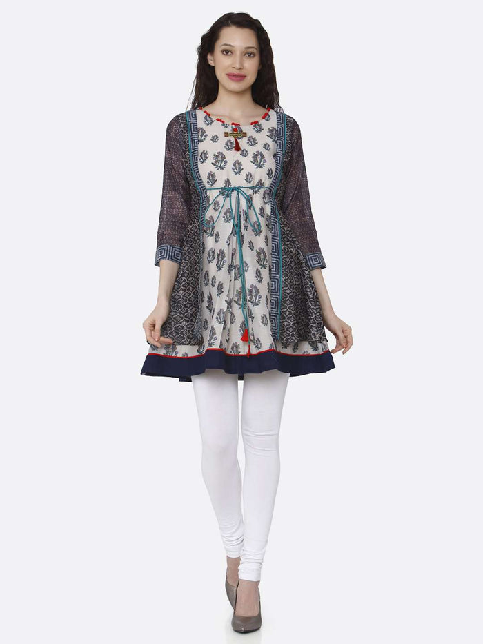 Full Front Side Casual Multicoloured Chanderi Printed Tunic With White Palazzo