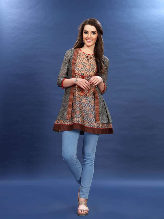 Front Side Multicoloured Chanderi Printed Tunic  With Light Blue Palazzo