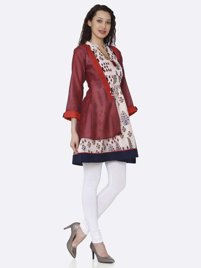 Right Side Multicoloured Chanderi Printed Tunic With White Palazzo
