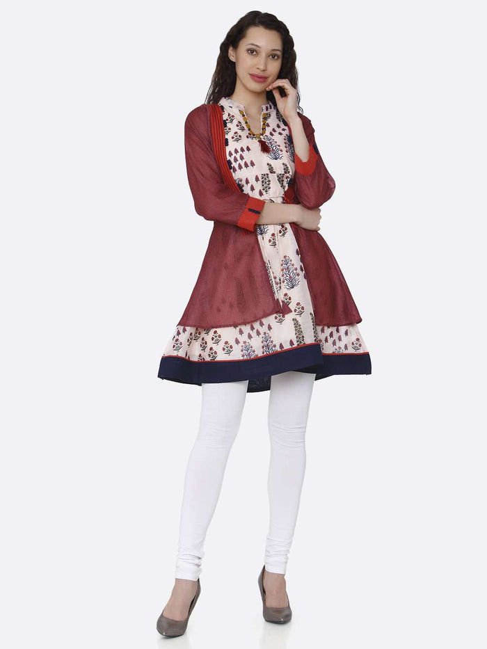 Full Front Side Multicoloured Chanderi Printed Tunic With White Palazzo