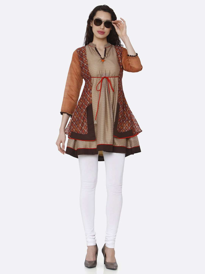 Full Front Side V neck Chanderi Printed Tunic With Multicoloured