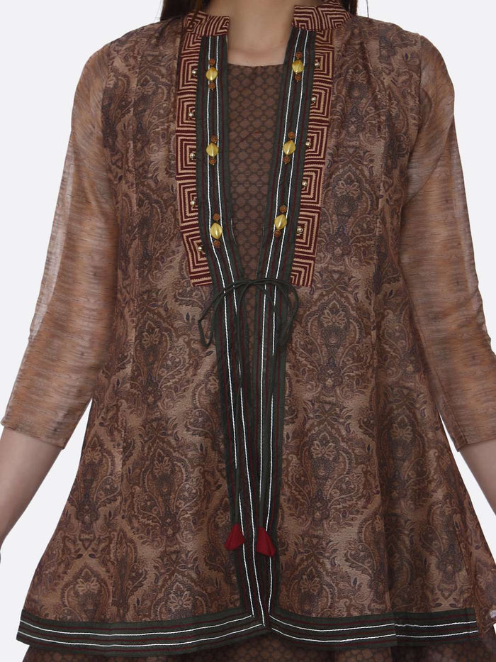 Front Side Chanderi Printed Tunic With MultiColoured