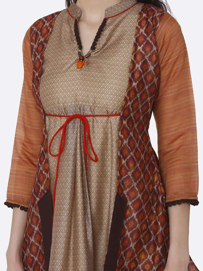 Front Side V Neck Multicoloured Chanderi Printed Tunic