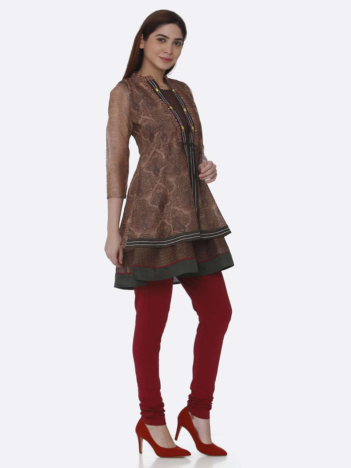 Right Side Multicoloured Chanderi Printed Tunic With Purple Palazzo